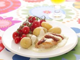 Csirkemell  szárított paradicsommal és mozzarellával töltve