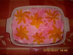 Túrós-puncsos barackos virág