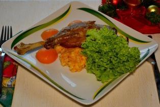 Konfitált libacomb sütőtökös rizottóval