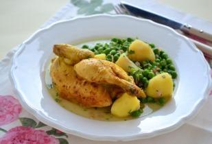 Tavaszi csirke sonkás zöldborsóval
