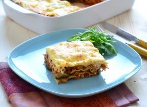 Lasagne padlizsánnal, paradicsommal és csicseriborsóval