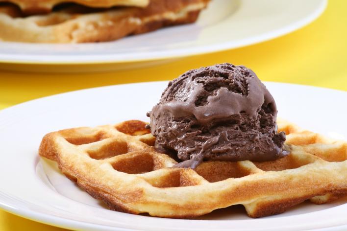 Gofri csokoládé jégkrémmel