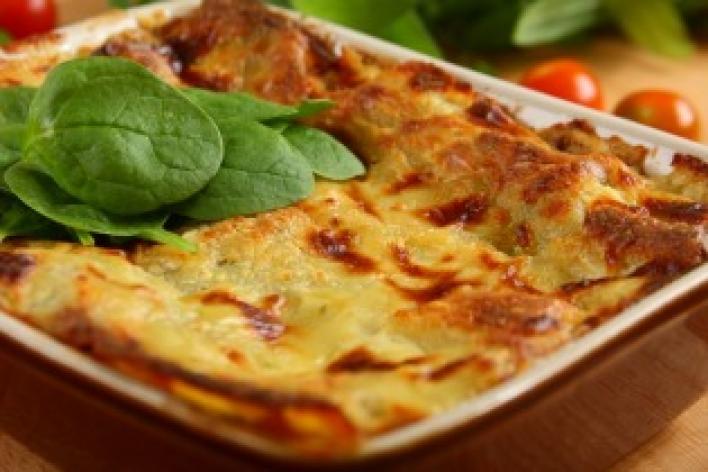 Lasagne spenóttal és gombával
