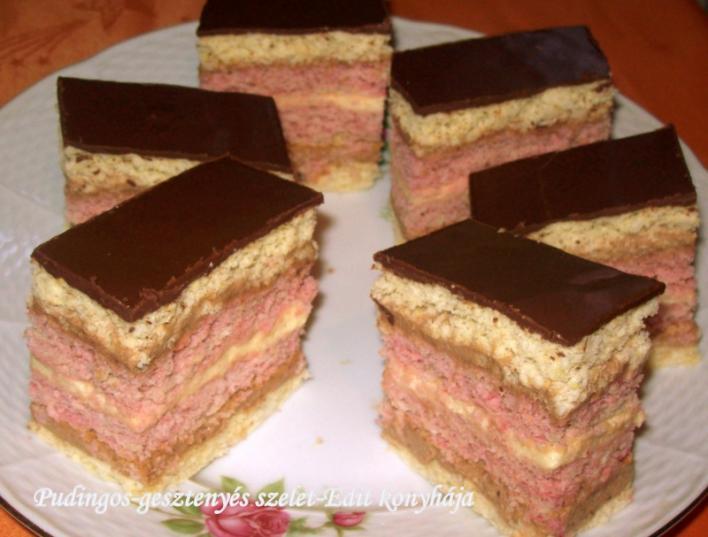 Pudingos-gesztenyés szelet csokimázzal