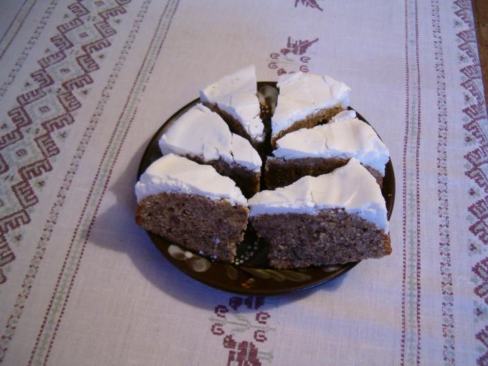 Cukormázas diós süti