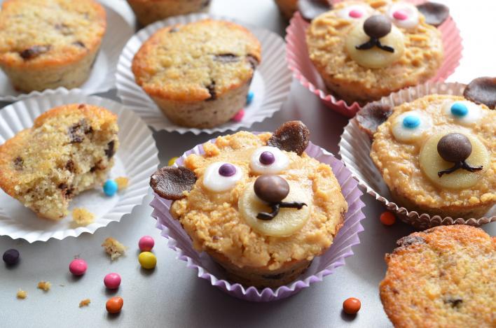 Tejcsokoládés-banános macis muffin mogyorókrémmel